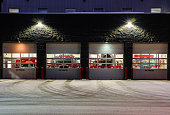Fairbanks Fire Department at night