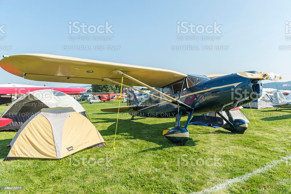 1938 Fairchild Airplane and Tent at Fly-In Hood River Oregon stock photo
