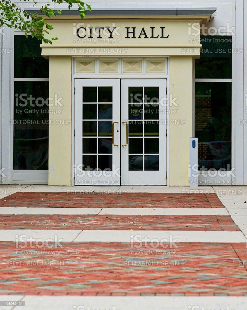 Fairfax City Hall Entrance stock photo