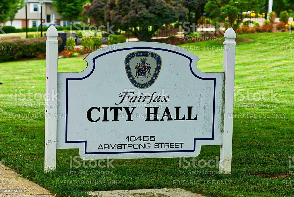 Fairfax City Hall Sign stock photo