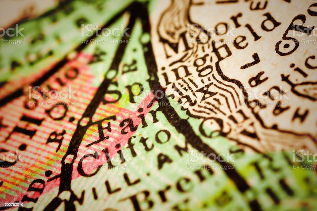 Fairfax | Virginia on an Antique map stock photo