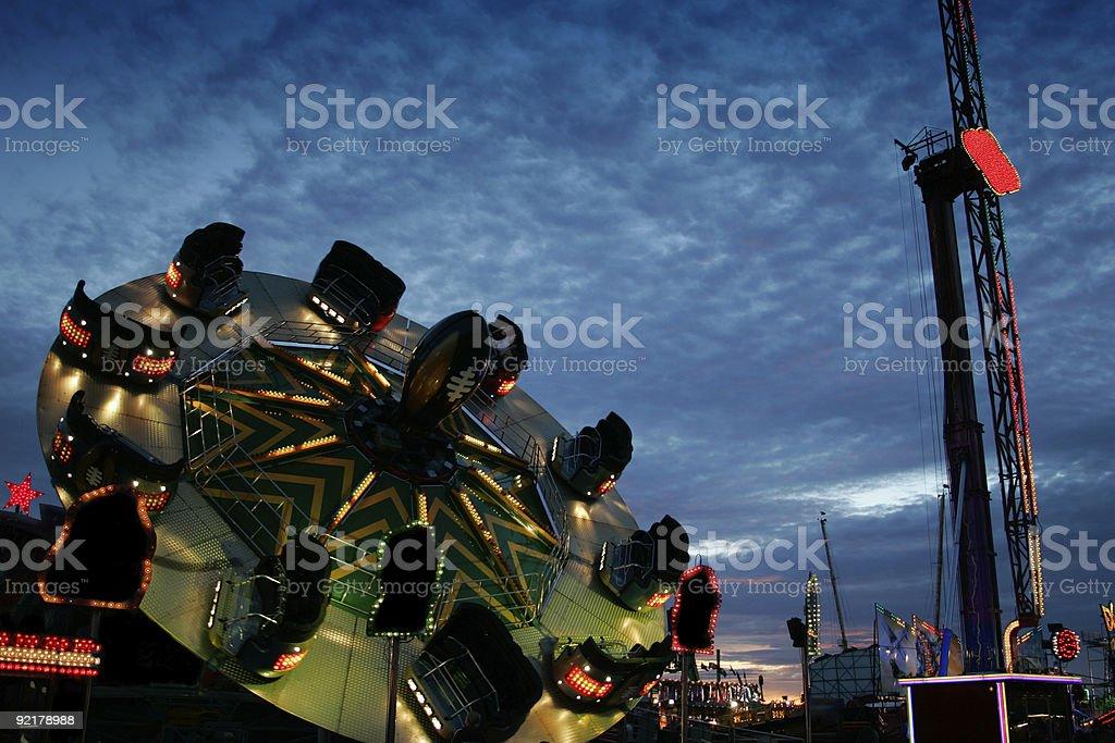 Fairground at dusk royalty-free stock photo