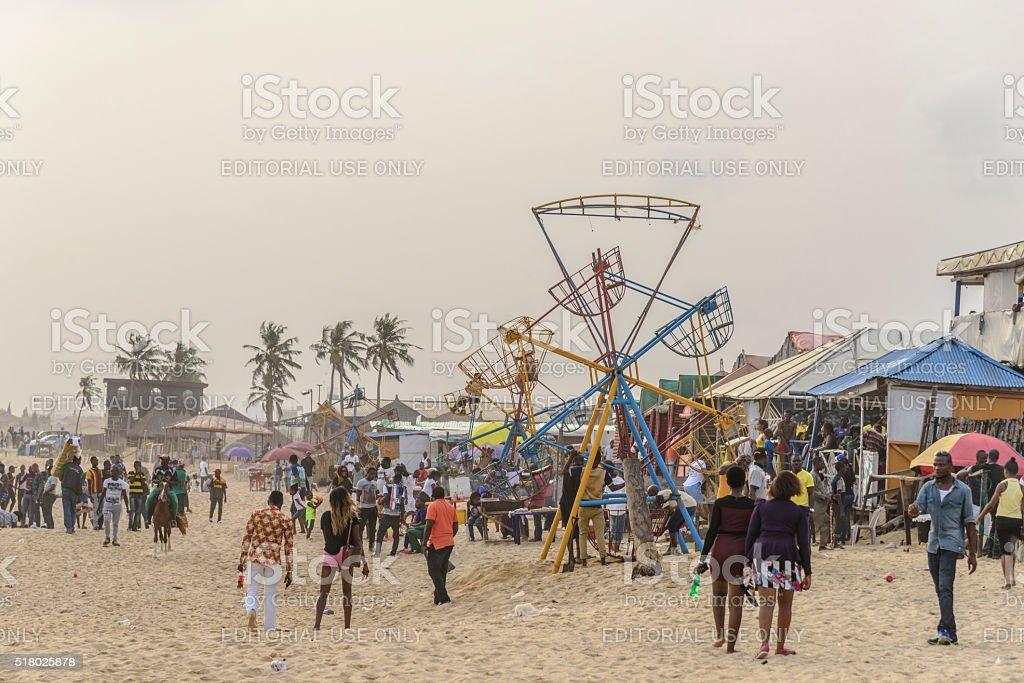 Fairground at Elugushi Beach, Lagos, Nigeria stock photo