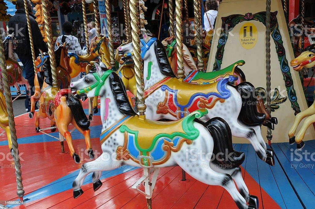 Fairground horses stock photo