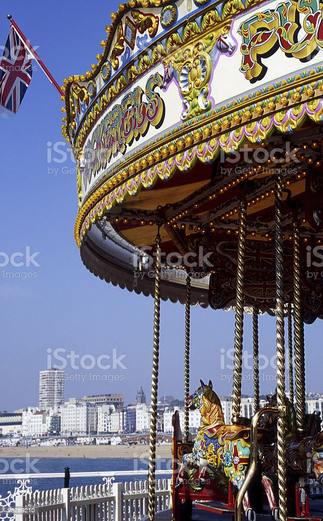 Fairground Roundabout on Brighton Pier. East Sussex. England royalty-free stock photo