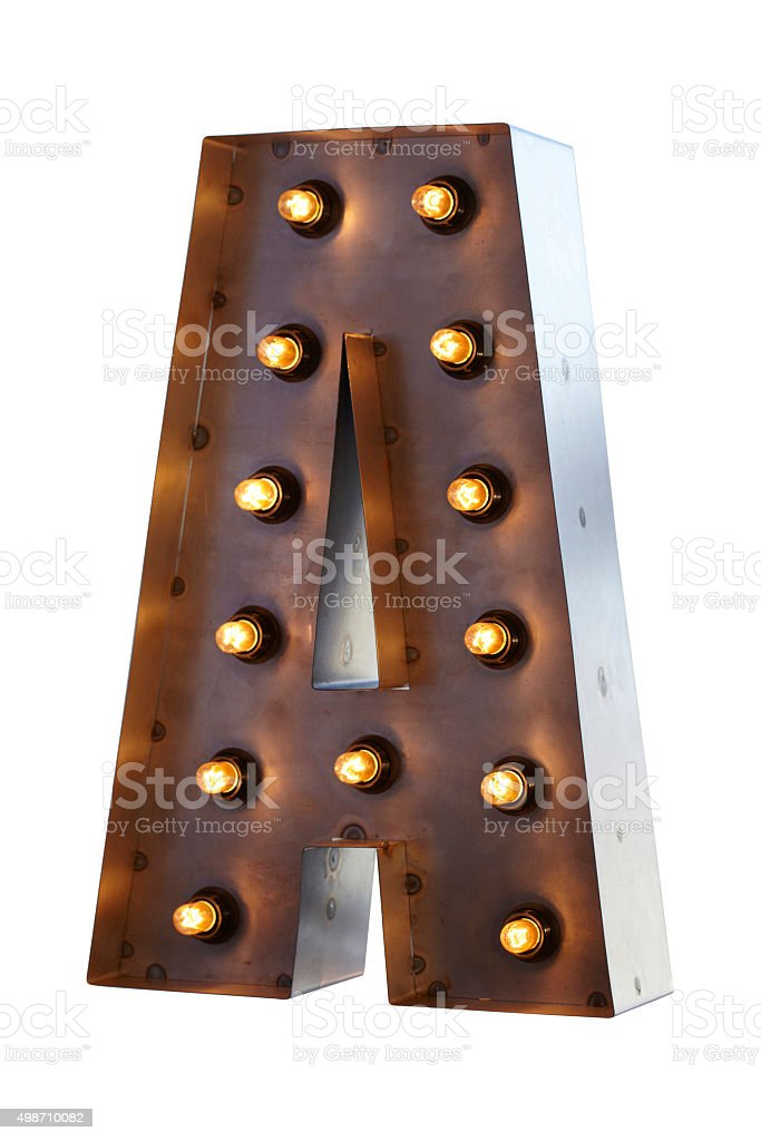 Fairgroung Lights letter A stock photo