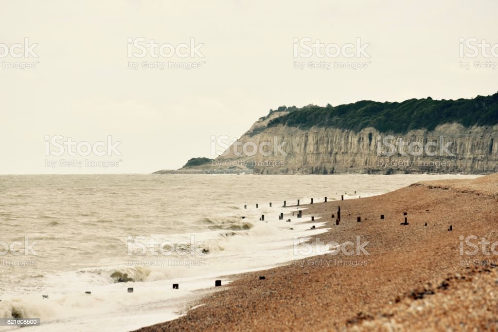 Fairlight Cliffs, East Sussex. stock photo