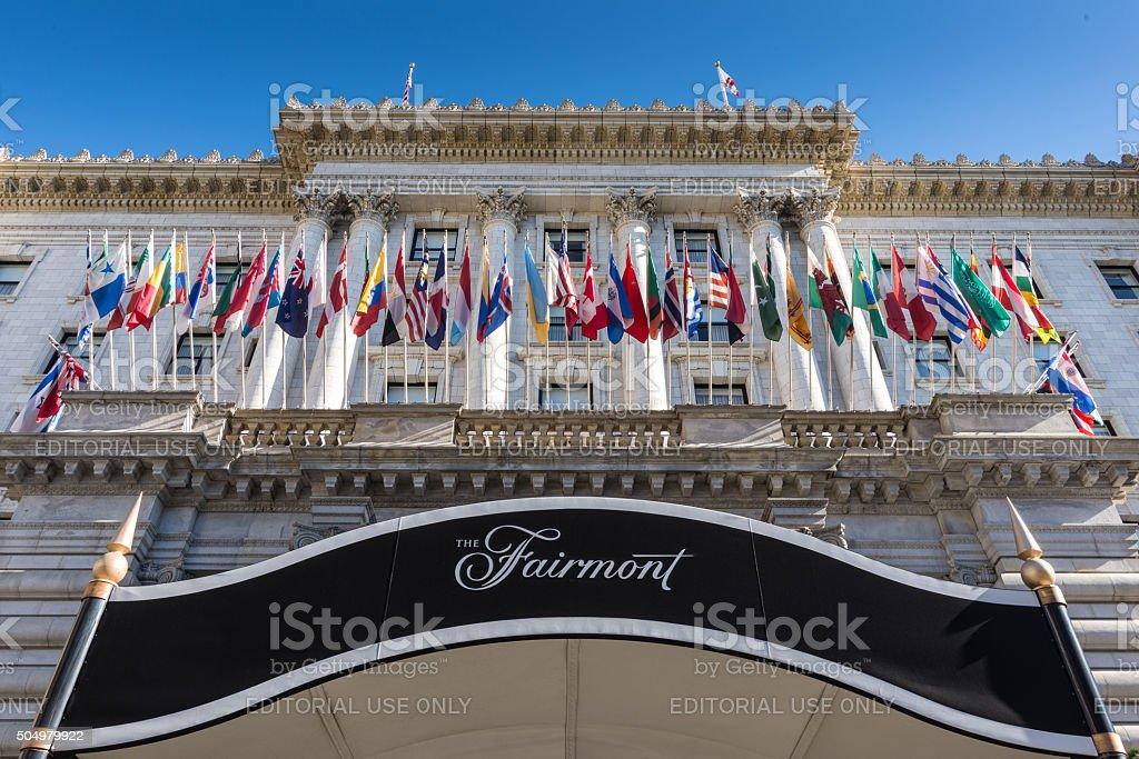 Fairmont Hotel San Francisco Facade Flags stock photo
