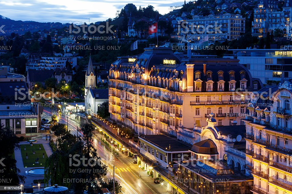Fairmont Le Montreux Palace Hotel at night stock photo