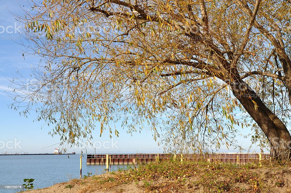 Fairport Harbor Lighthouse on Lake Erie. Fall royalty-free stock photo