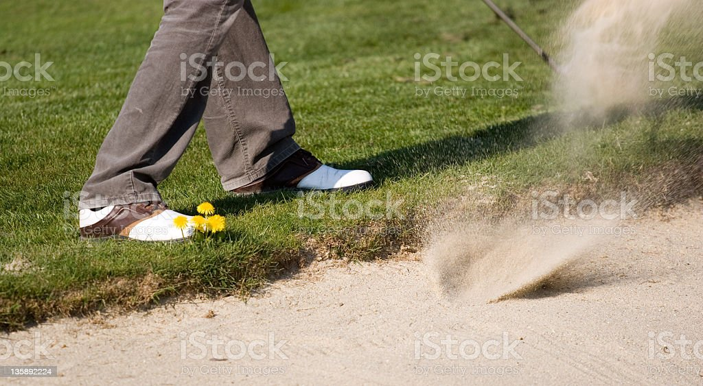 fairway bunker blast royalty-free stock photo