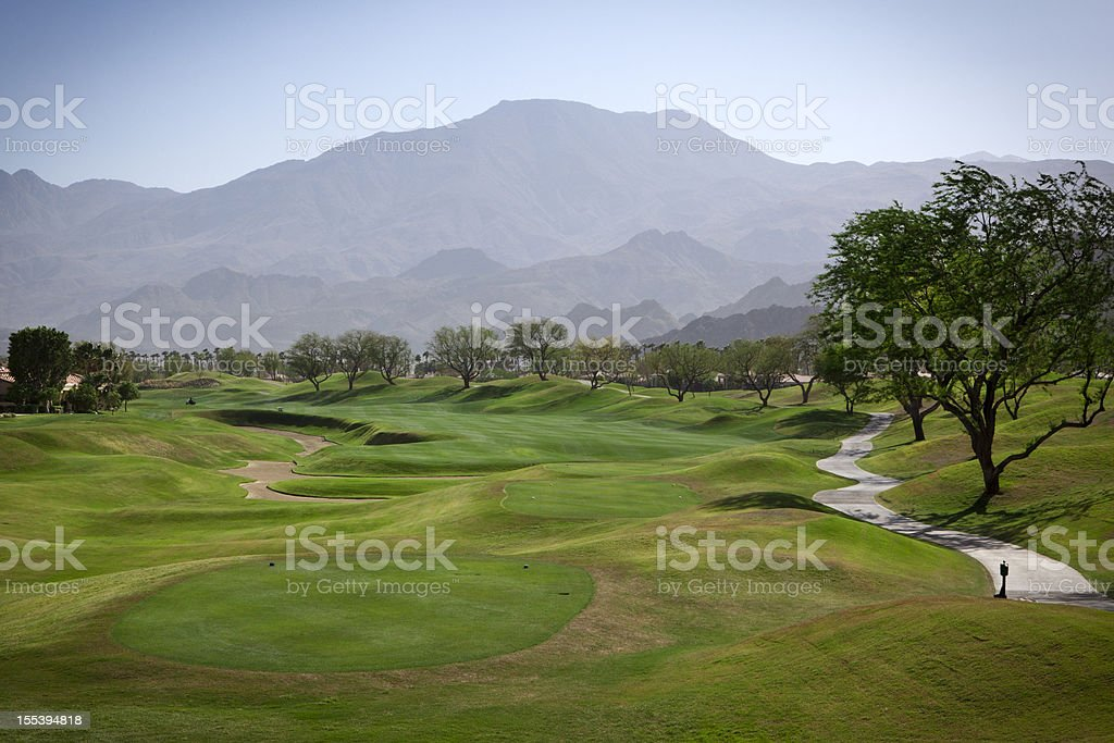 Fairway on a luxury golf course stock photo