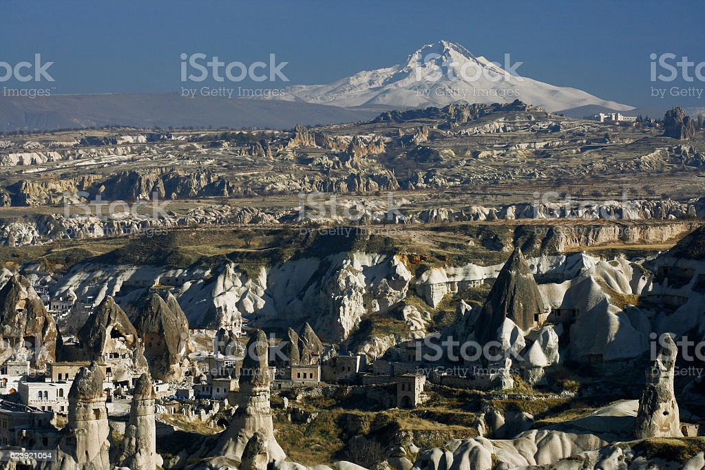 Fairy chimneys and volcano Erciyes stock photo