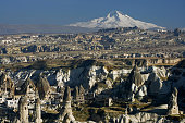 Fairy chimneys and volcano Erciyes