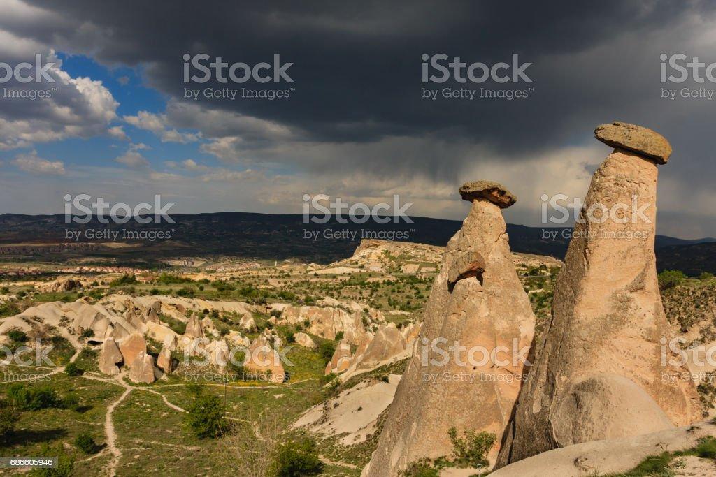 Fairy chimneys of Cappadocia stock photo