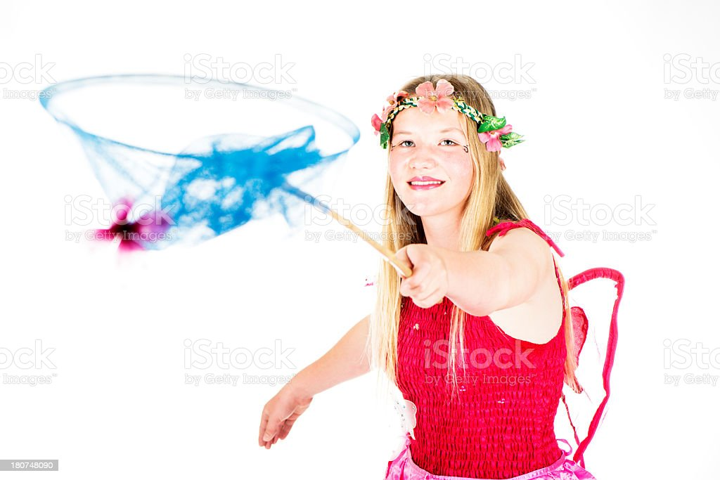 Fairy Girl Catches Butterfly royalty-free stock photo