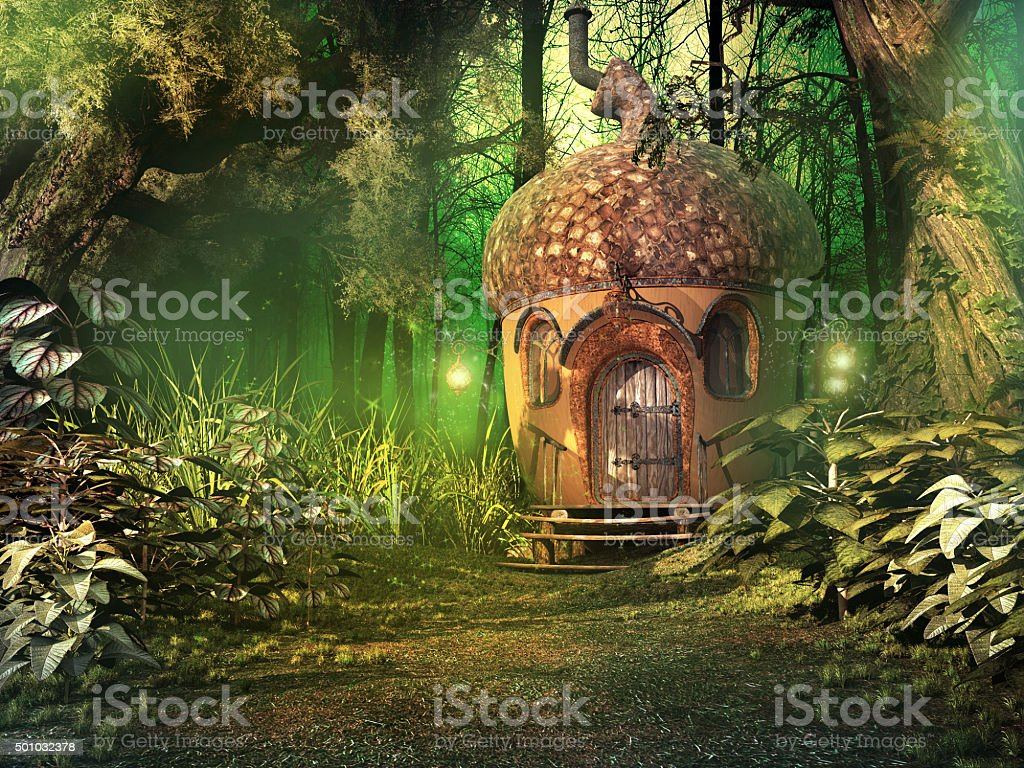 Fairy house in deep forest stock photo