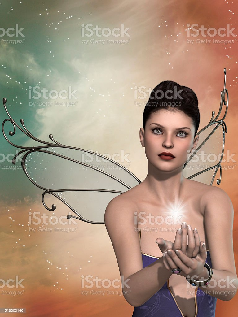 fairy in the sky 3D rendering stock photo