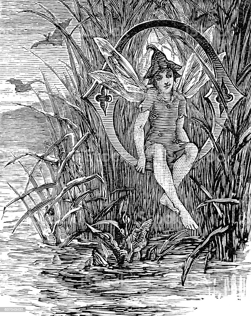 Fairy or nymph sitting by a lake stock photo