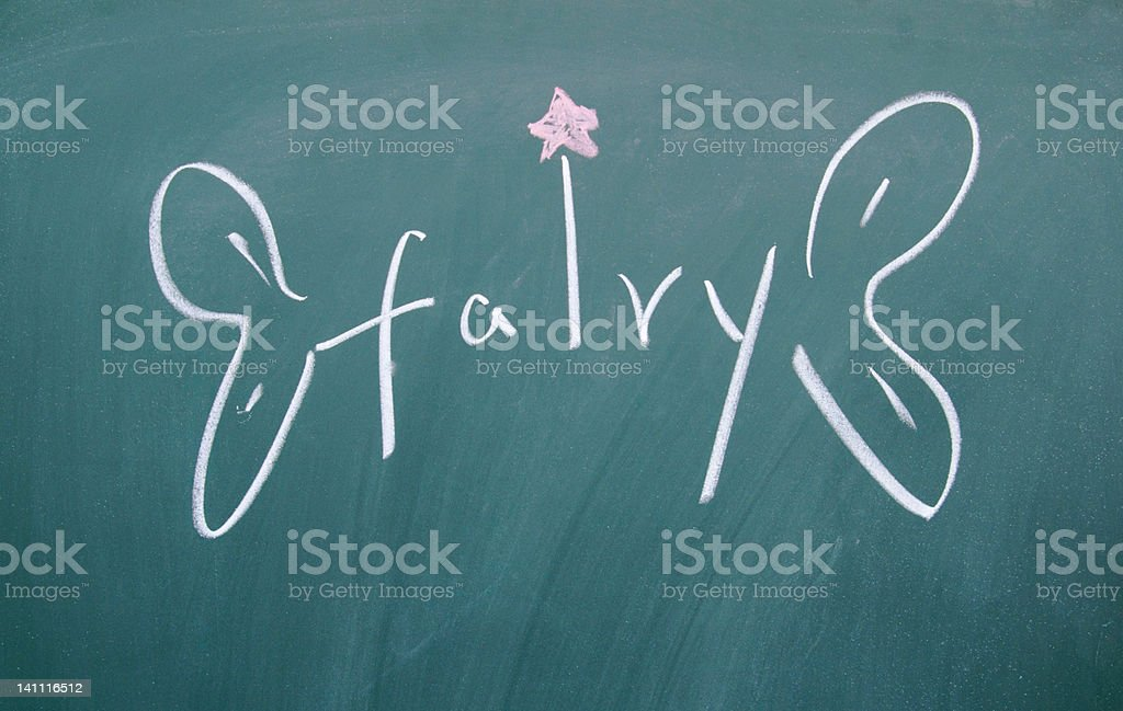 fairy sign drawn with chalk on blackboard stock photo