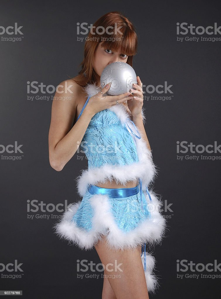 Fairy swelling christmas ball on dark background royalty-free stock photo