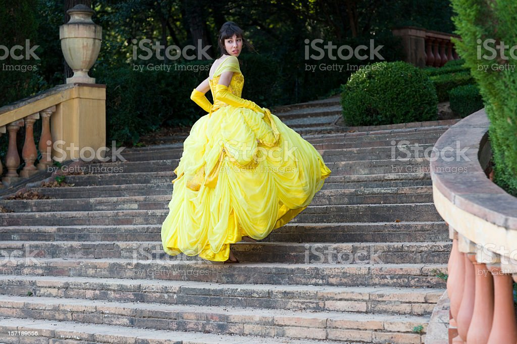 fairy tale beautiful girl lost her shoe stock photo
