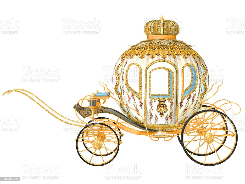 fairy tale carriage, isolated on the white background stock photo