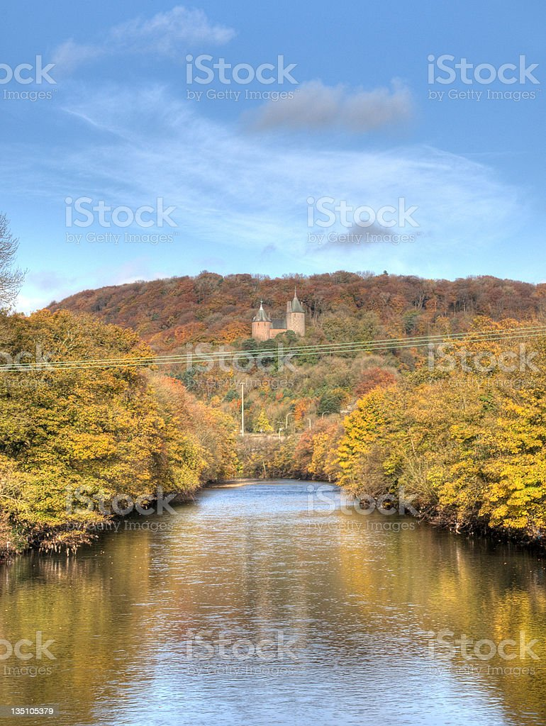Fairy tale castle and river stock photo