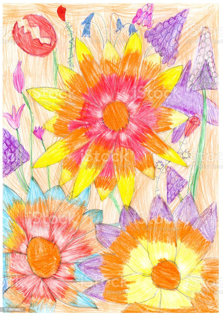Fairy tale fantastic flowers. Fantasy garden. Child's drawing stock photo