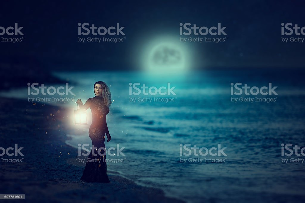 fairy tale in night time stock photo