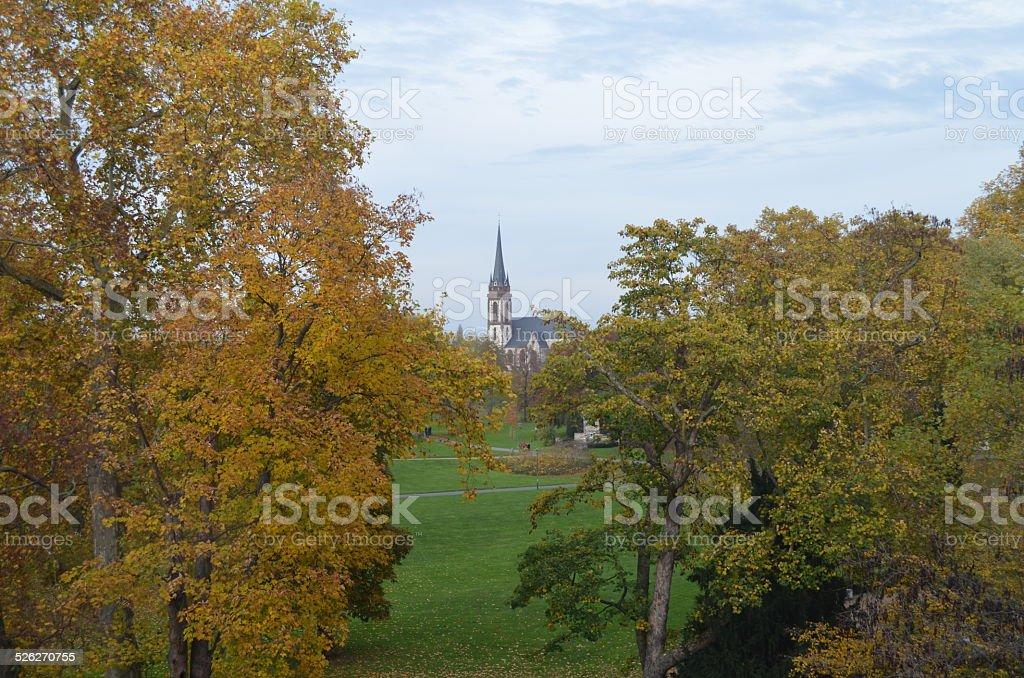 Fairy tale landscape: Herrengarten in Autumn, Darmstadt, Germany stock photo