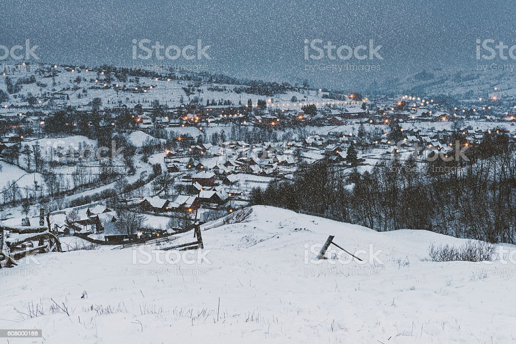 Fairy tale village, Christmas background stock photo