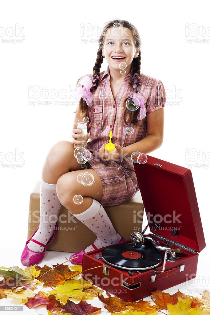 fairy tale,soap bubbles and gramophone royalty-free stock photo