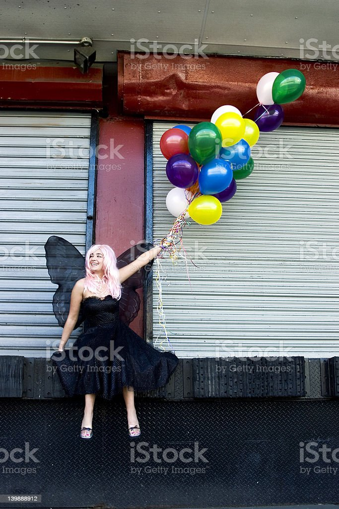 Fairy with balloons royalty-free stock photo