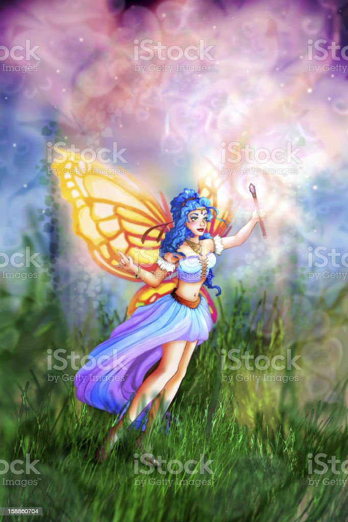 Fairy with her magic wand - Illustration stock photo
