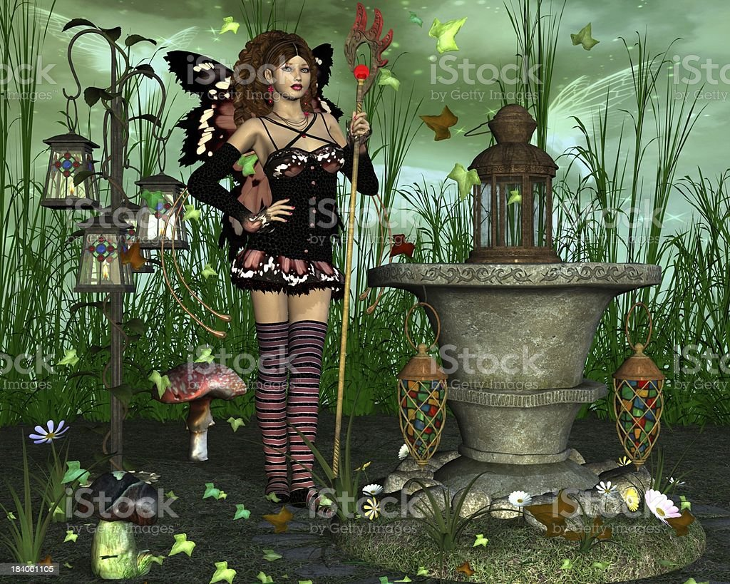 Fairy with magic tail staff royalty-free stock photo