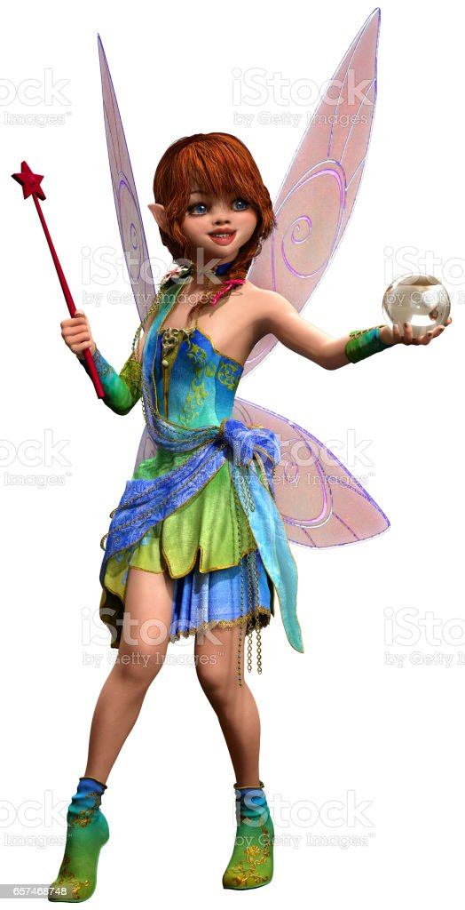 Fairy with wand and crystal ball stock photo