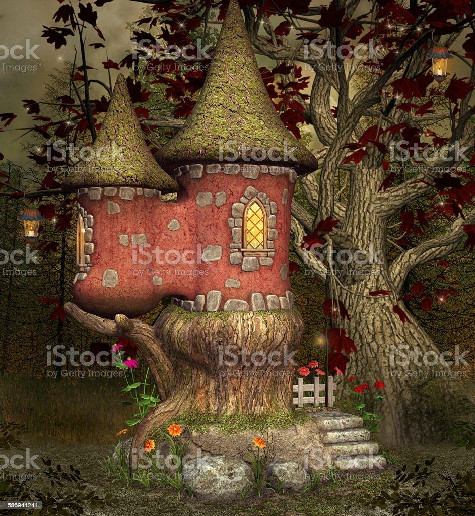 Fairytale castle stock photo