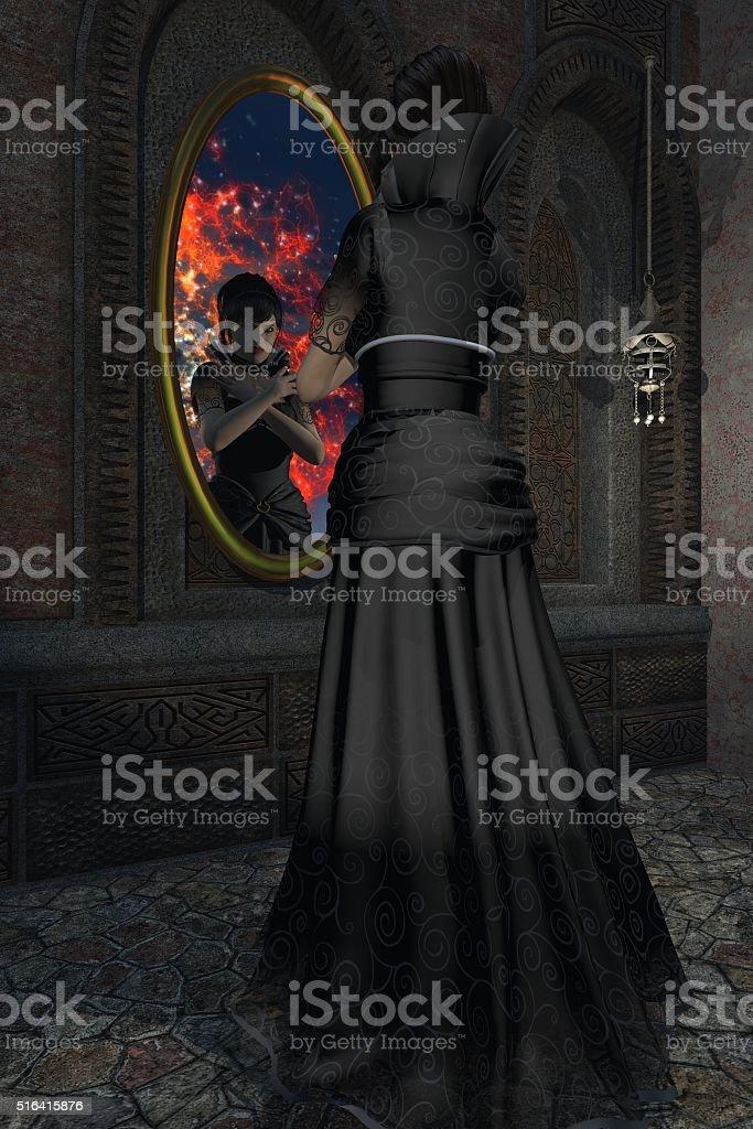 Fairy-tale evil stepmother gazes into magic mirror stock photo