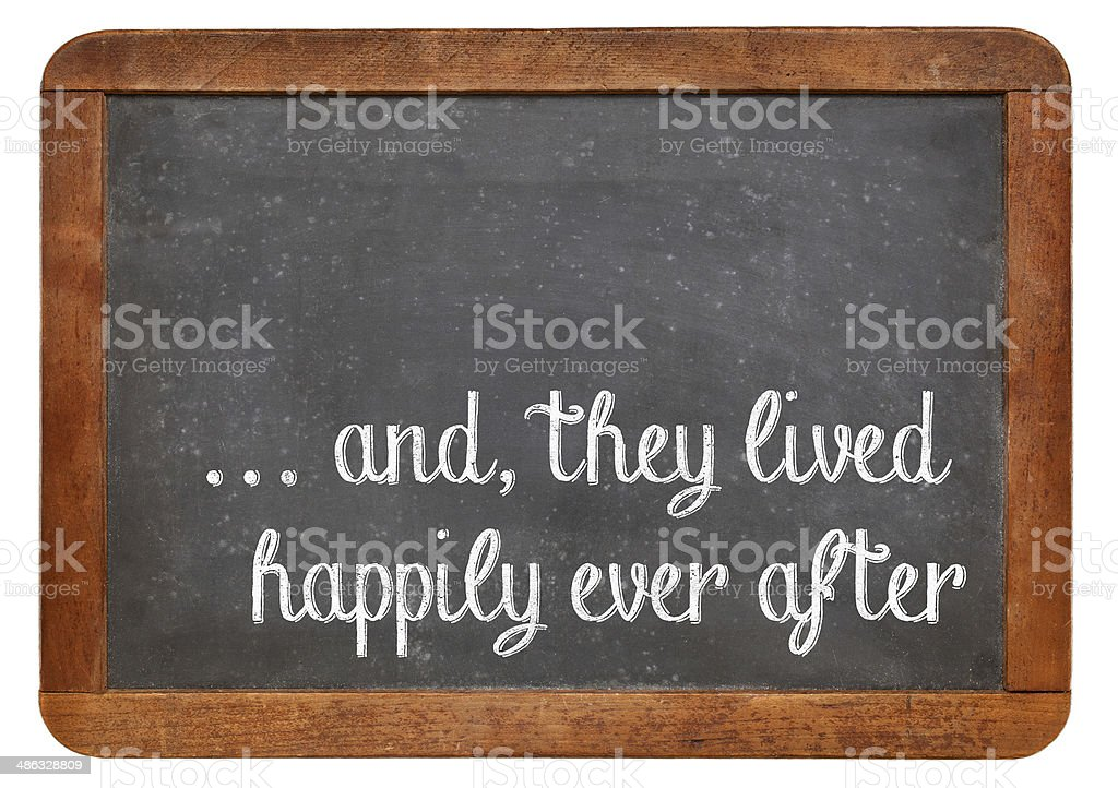 fairytale happy end phrase stock photo