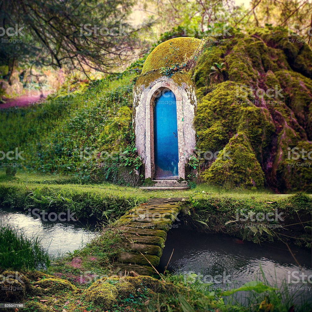 Fairytale Home in Magical Fantasy Forest Background stock photo