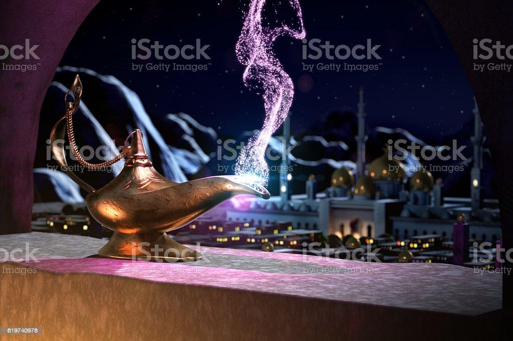 3D fairytale of magic lamp stock photo