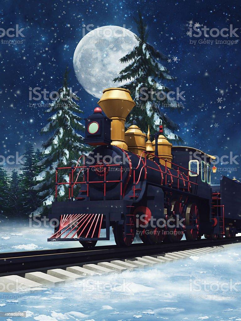Fairytale train at night stock photo
