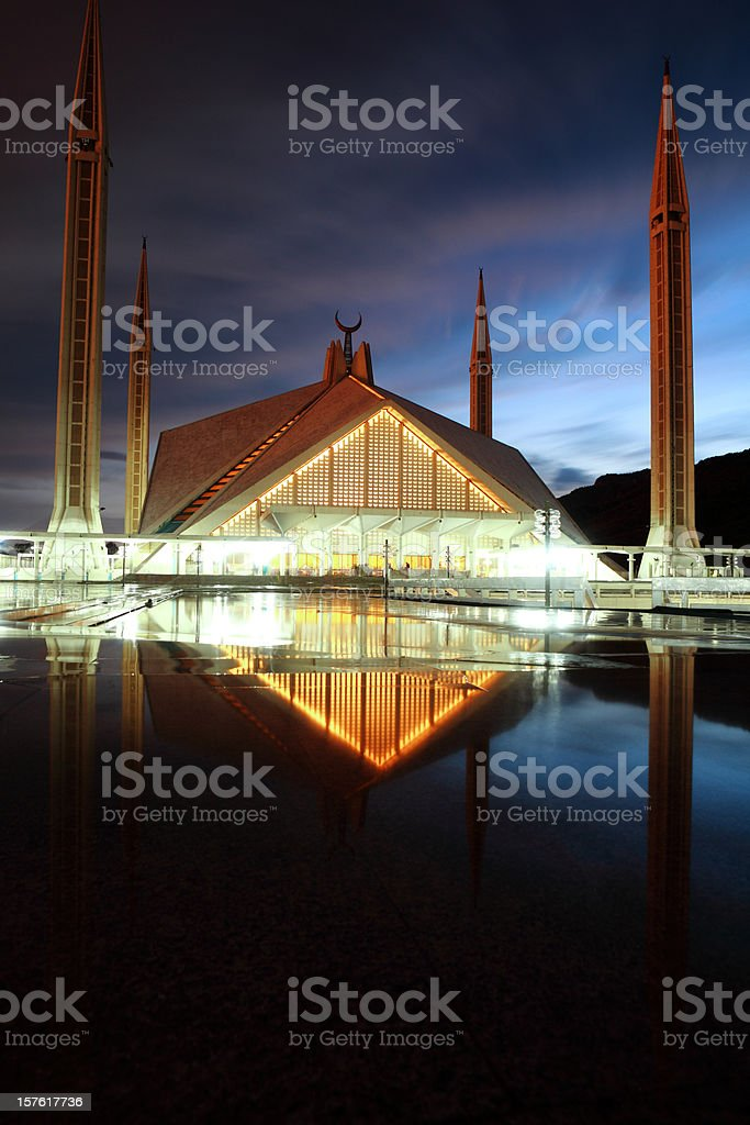 Faisal Mosque in Pakistan at dusk stock photo