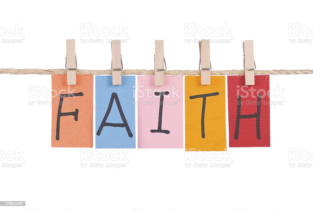 Faith, Colorful words hang on rope royalty-free stock photo