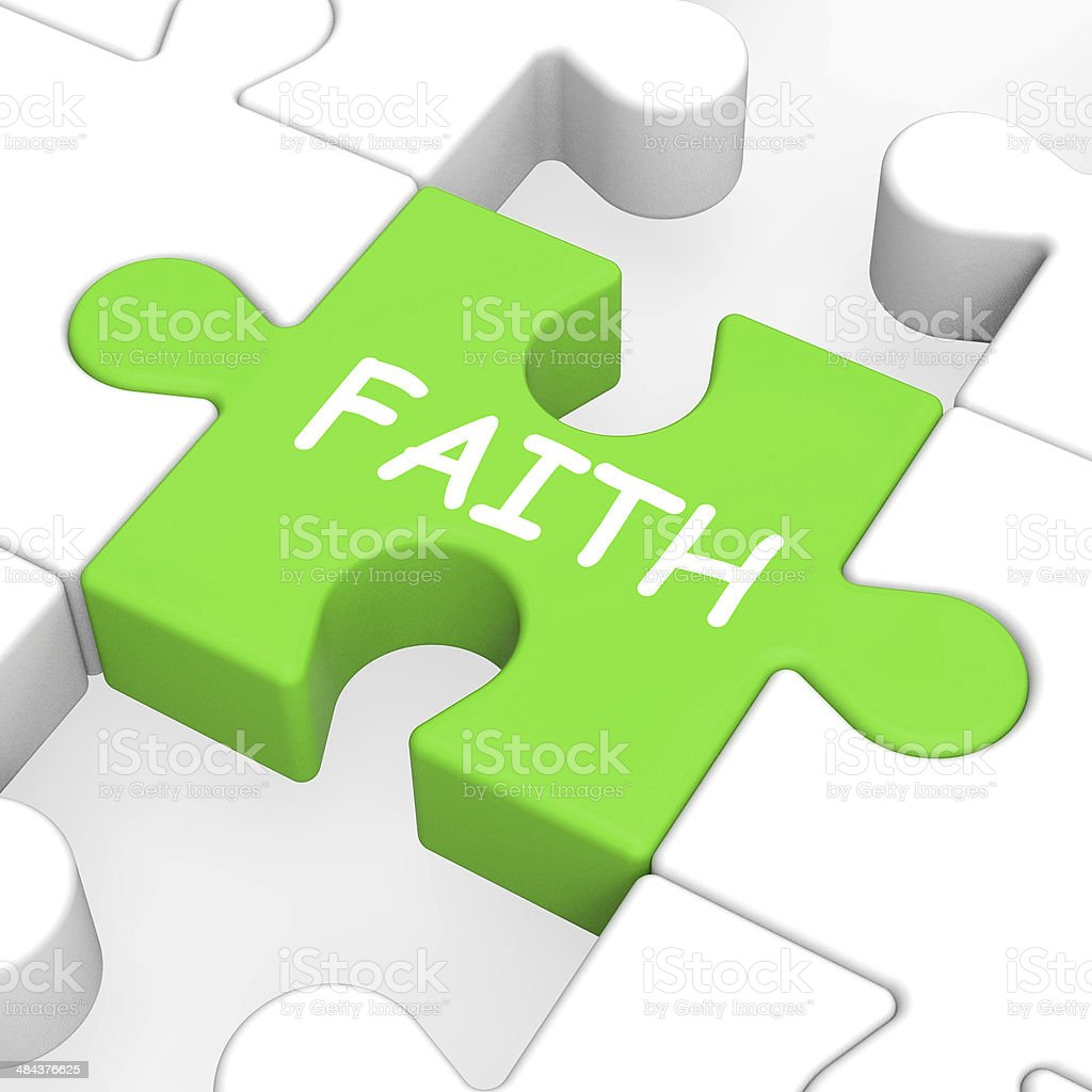 Faith Jigsaw Showing Spiritual Belief Or Trust royalty-free stock photo