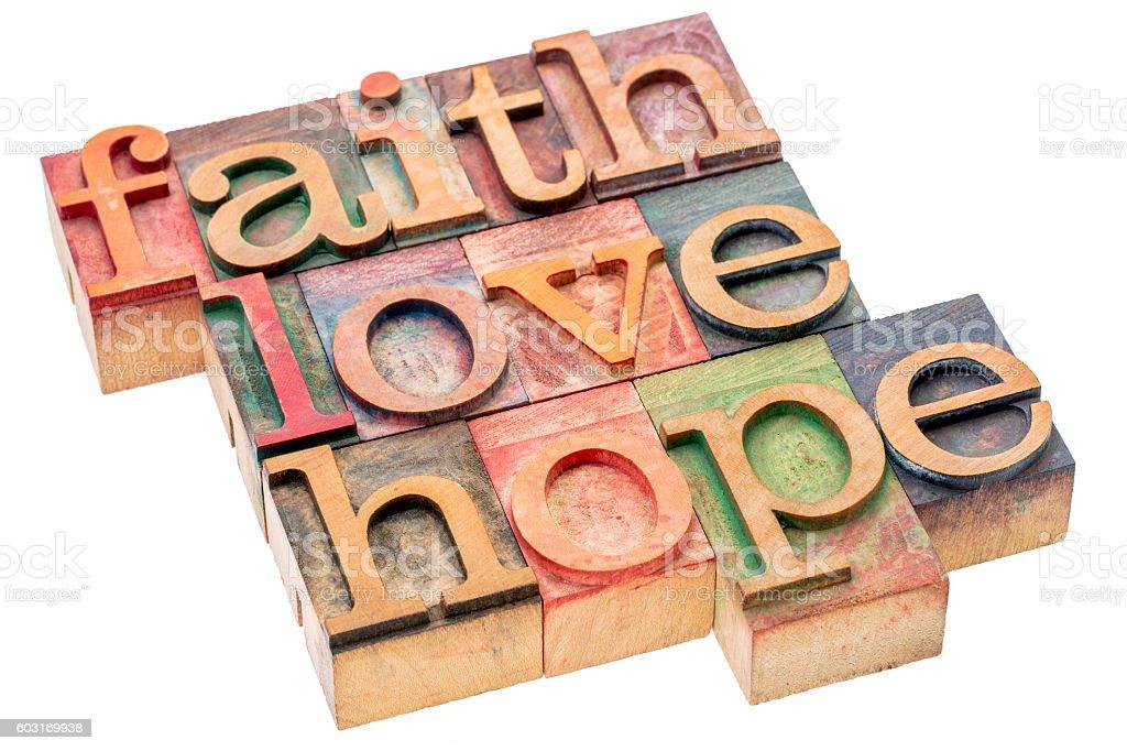 faith, love and hope word abstract stock photo