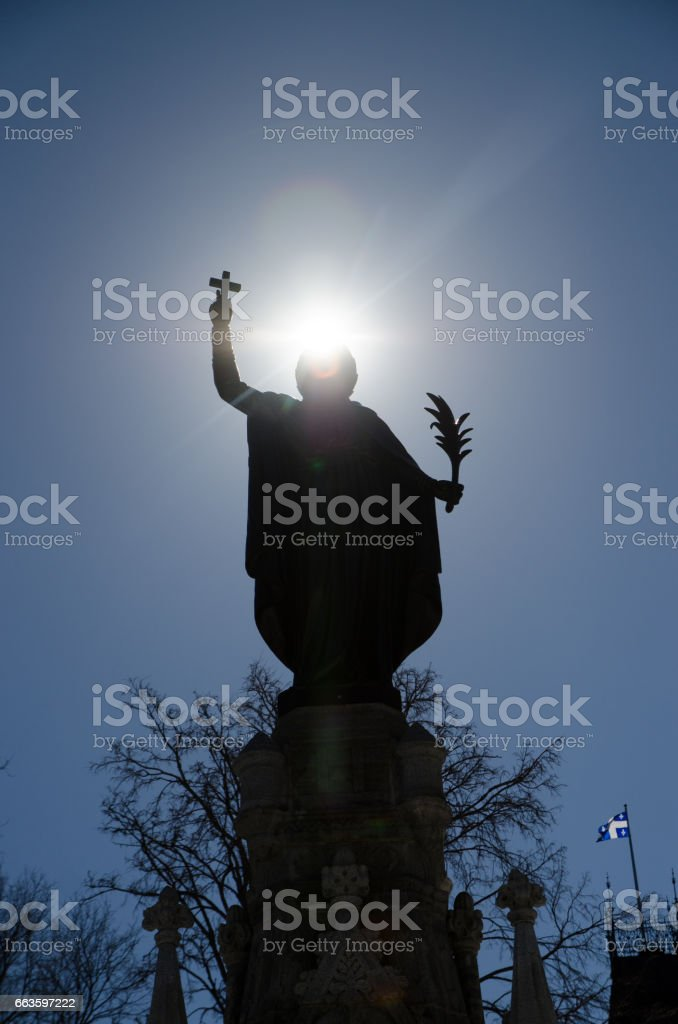 Faith Monument in Place d'Armes park in Quebec city stock photo