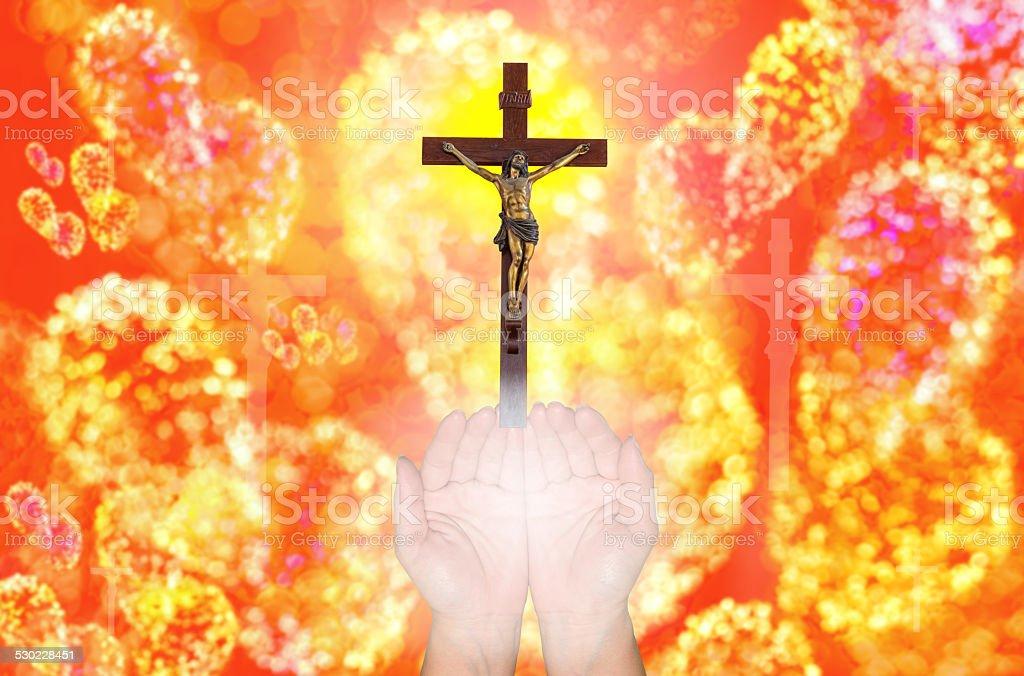 faithful,  jesus Christ gloria bokhe background stock photo