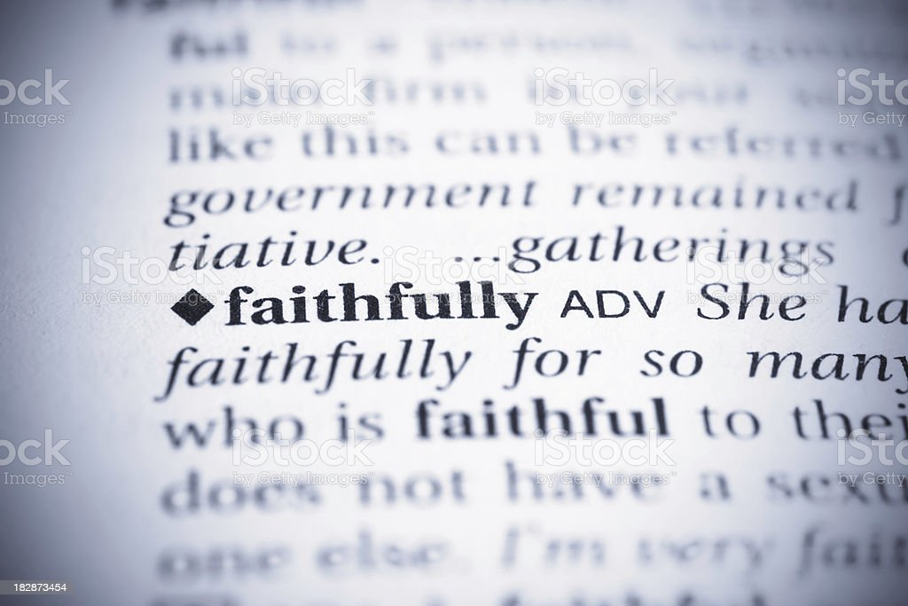 Faithfully word royalty-free stock photo